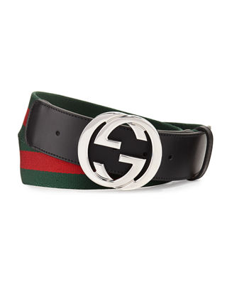 Logo Buckle Interlock Belt, Black