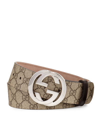 Gucci GG Supreme Belt w/Interlocking G and Matching