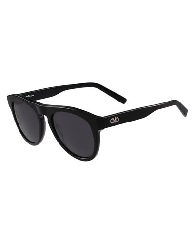 Men's Gancini Round Acetate Sunglasses