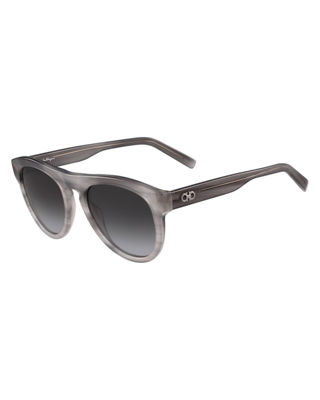 Salvatore Ferragamo Men's Gancini Round Acetate Sunglasses