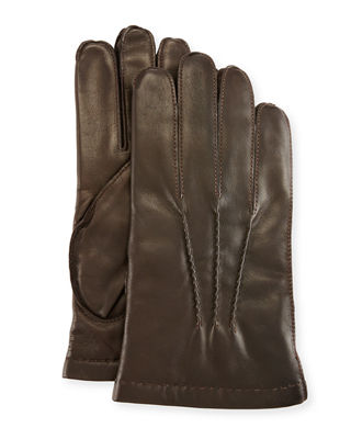PORTOLANO 3-Point Napa Leather Gloves W/Cashmere Lining in Chocolate