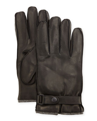 Cashmere-Lined Napa Glove w/Belted Snap
