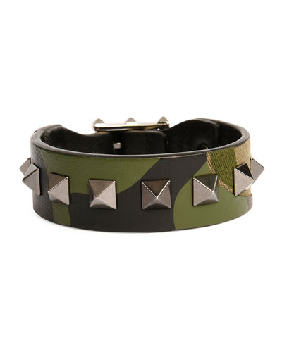 Valentino Garavani Men's Rockstud Camo Leather Bracelet