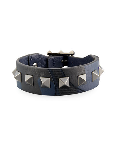 Men's Rockstud Camo Leather Bracelet