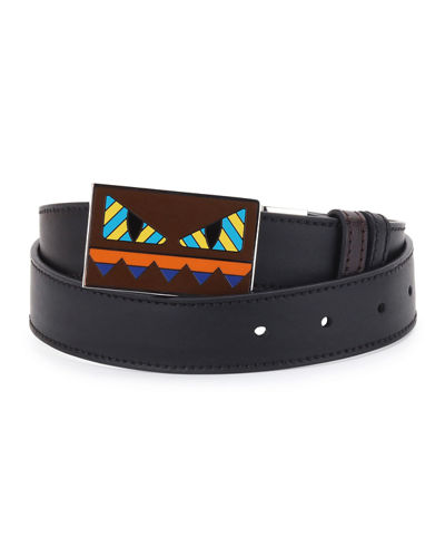 Striped Monster-Face Leather Belt