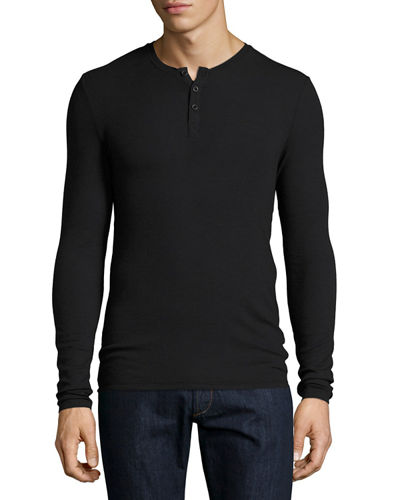Ribbed Modal Henley T-Shirt