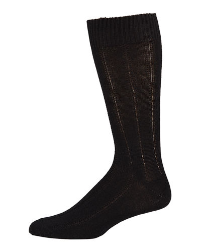 Neiman Marcus Men's Ribbed Cashmere Socks