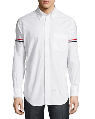 Thom Browne Classic Arm-Stripe Long-Sleeve Oxford Shirt