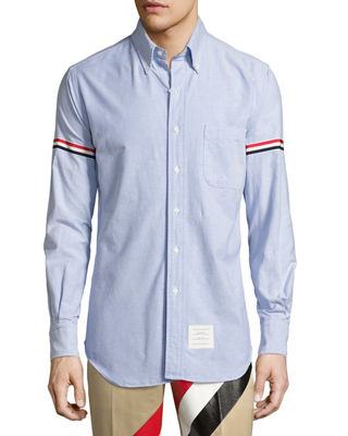 Image 1 of 2: Classic Arm-Stripe Long-Sleeve Oxford Shirt