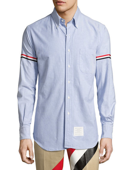 striped sleeve shirt - Blue Thom Browne Big Sale Sale Online Free Shipping Geniue Stockist Clearance Low Cost M7t278gTX