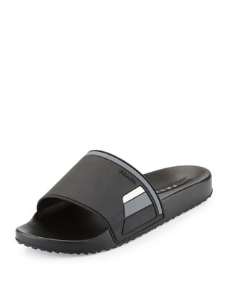 Prada Leather Logo Slide Sandals