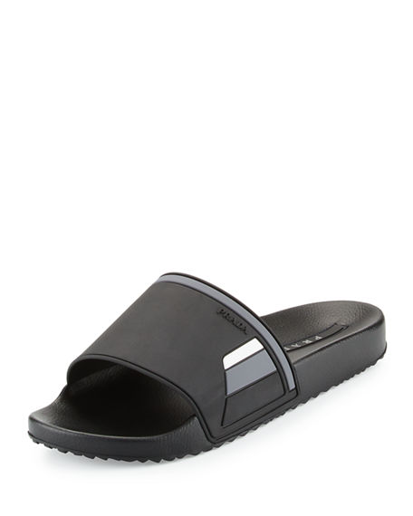 Prada Leather Logo Slide Sandals dUgdstz
