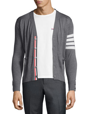 Image 3 of 3: Merino Wool V-Neck Cardigan with Four-Bar Stripe