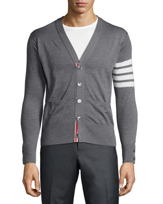 Image 1 of 3: Merino Wool V-Neck Cardigan with Four-Bar Stripe