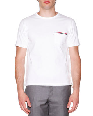 Thom Browne Short-Sleeve Logo Pocket T-Shirt