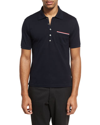 Thom Browne Heather Polo Shirt with Striped Pocket
