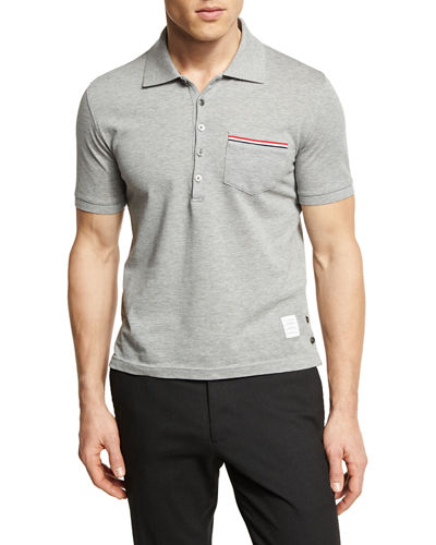 Heather Polo Shirt with Striped Pocket