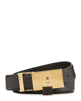 100mm Padlock-Buckle Leather Belt