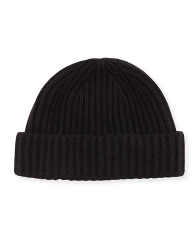Rib-Knit Cashmere Hat, Black