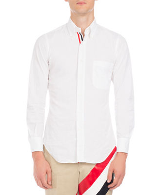 Thom Browne Classic Poplin Shirt with Striped-Placket
