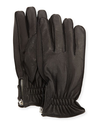 Cashmere-Lined Leather Gloves