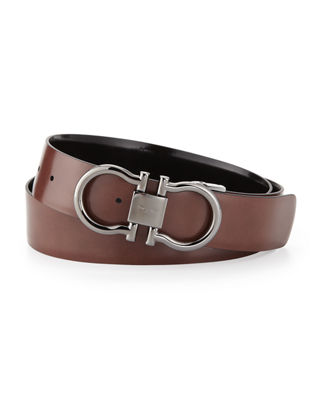 Salvatore Ferragamo Men's Reversible Double Gancini Belt