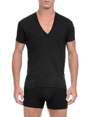 Pima Slim-Fit Deep V-Neck T-Shirt