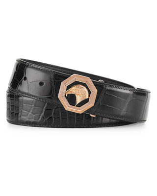 Crocodile Belt with Rose Golden Eagle Buckle