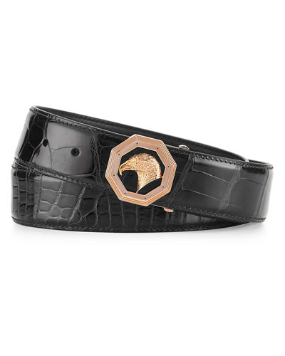 Stefano Ricci Crocodile Belt with Rose Golden Eagle