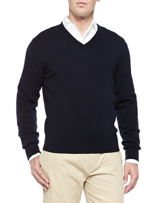 Image 1 of 2: Baby Cashmere V-Neck Sweater