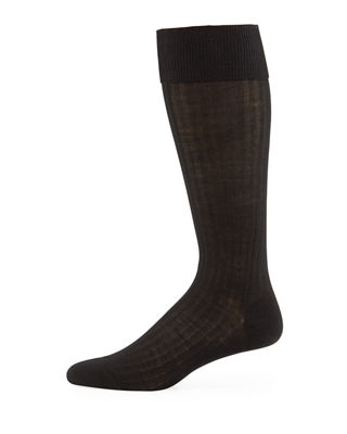 Pantherella Men's Over-the-Calf Ribbed Merino Wool Socks