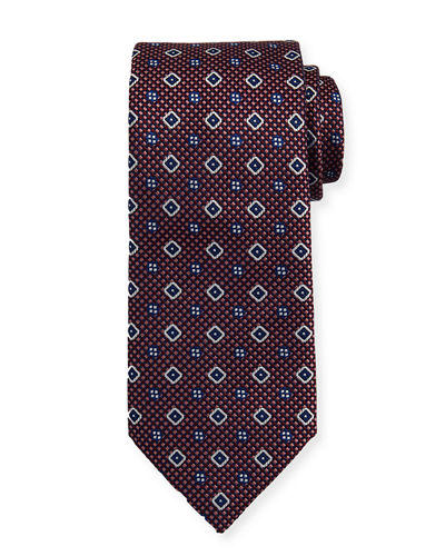 Textured Medallion-Print Silk Tie