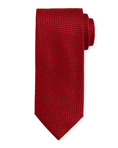 Textured Check Silk Tie