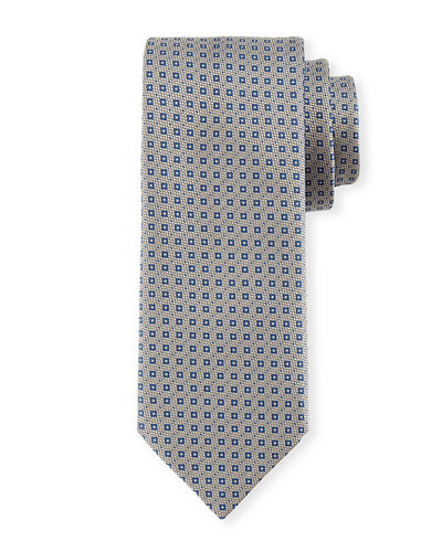 Textured Square-Print Silk Tie