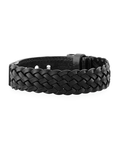 Men's Braided Calf Leather T-Buckle Bracelet