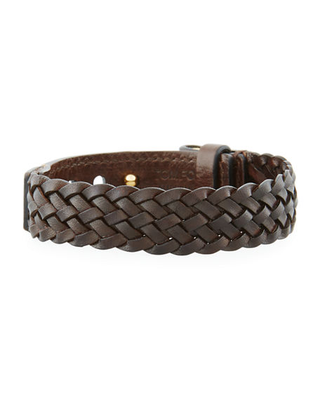 Tom Ford Bracelets MEN'S BRAIDED CALF LEATHER T-BUCKLE BRACELET