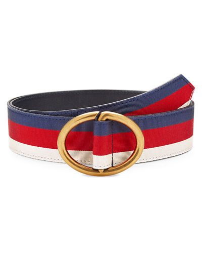 Gucci Men's Web Belt with Gold Buckle and