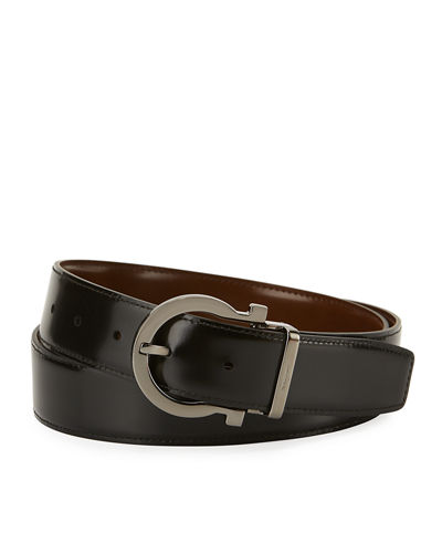 Reversible Leather Gancio Buckle Belt