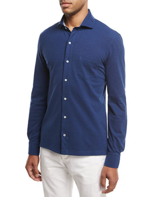Isaia Piqué Knit Long-Sleeve Oxford Shirt