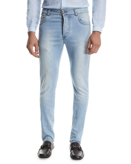 Isaia Light Wash Straight-Leg Jeans