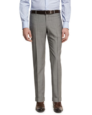 ISAIA Extralight Saxony Flat-Front Trousers in Gray