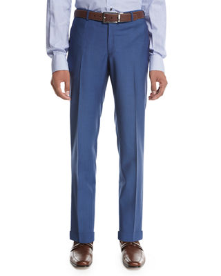 Image 1 of 3: Unito Wool Flat-Front Trousers