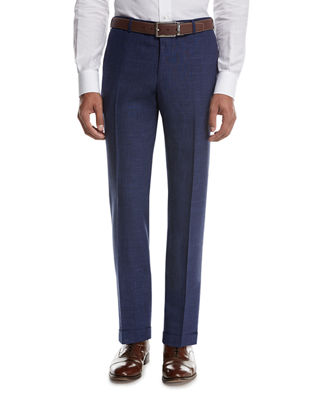 Isaia Sanita M??lange Linen-Look Cotton Trousers