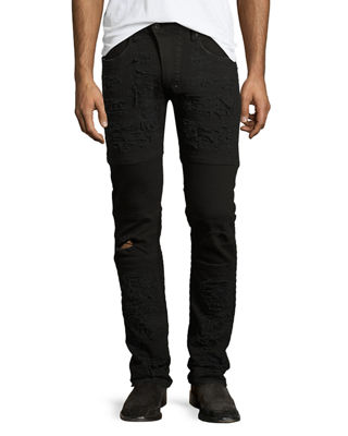 Marvel Windsor Distressed Stretch-Denim Moto Skinny Jeans