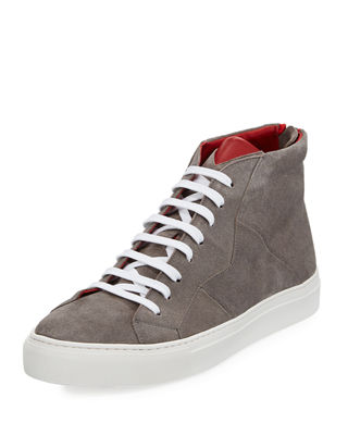 Anonyme-Paris Vidar Men's Puzzle-Seam Suede High-Top Sneaker