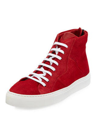Anonyme-Paris Vidar Men's Puzzle-Seam Suede High-Top Sneakers