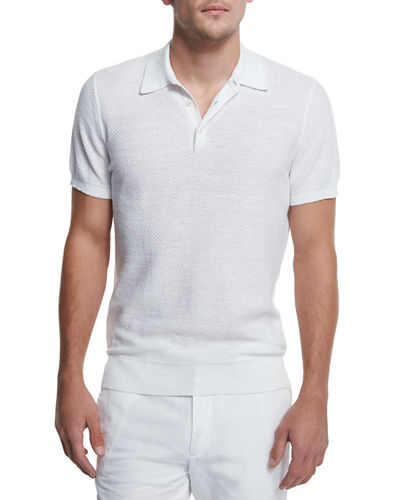 Textured Cotton/Linen Polo Shirt