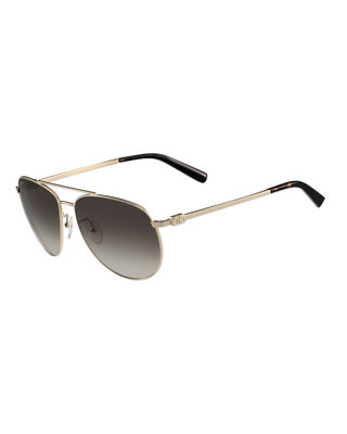 Salvatore Ferragamo Gancio Metal Aviator Sunglasses
