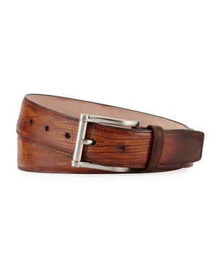 Magnanni for Neiman Marcus Lizard Square-Buckle Belt