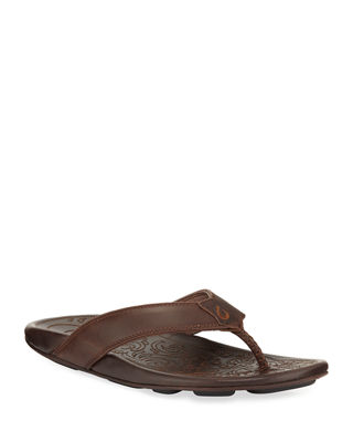 OLUKAI Waimea Leather Thong Sandal in Dark Wood/ Dark Wood Leather